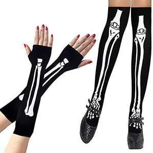 SIBOSUN Halloween Women's Skeleton Fingerless Gloves & Stockings Socks Costume Party - Luminous Style Glow In The Dark