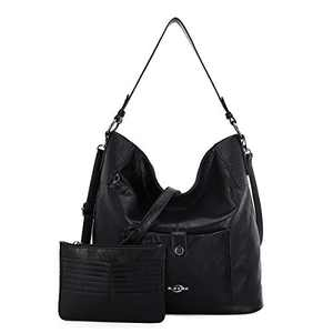 Women Shoulder Handbag Purse Top-Handle Hobo Roomy Casua Ladies' Shoulder Bag Fashion PU Tote Satchel Bag for Women (A-KL5208#687#1BLACK)