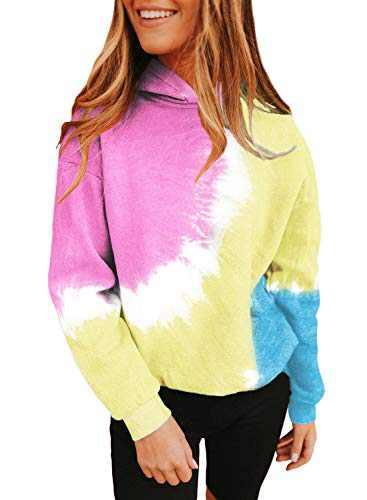 Lovezesent Women's Plus Size Casual Loose Long Sleeve Tie Dye Pullover Hoodie Sweatshirt Top 2020 Pink XXL