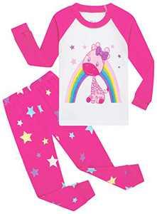Christmas Pajamas For Girls Cute Giraffe Jammies Long Sleeve Sleepwear Size 6