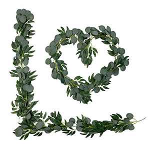 6.2ft 2PCS Artificial Eucalyptus Willow Garlands Greenery Vines for Table Wedding Decorations Indoor Outdoor Backdrop Arch