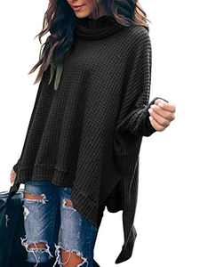 Margrine Women's Oversized Loose Knitted Crew Neck Long Sleeve Winter Warm Pullover High Low Hem Long Sweater Tops Black M8A3-hei-XS