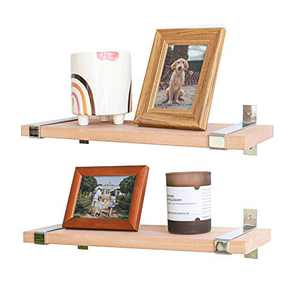 Labcosi Beech Wood Floating Shelves Wall Mounted for Living Room, Kitchen, Bathroom, Office- etc, Solid Wood Display Ledges and Wall Rack Shelf for Trophy Display, Photo Frames…