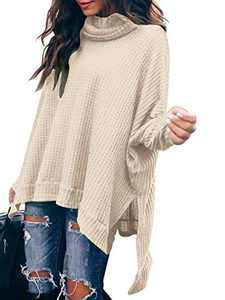 Margrine Women Sweaters Batwing Sleeve Casual Cowl Neck Side Slit Tunic Jumpers Winter Pullovers Tops Apricot M8A3-xingse-L