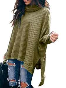 Margrine Women Turtlenck Batwing Sleeve High Low Hem Side Slit Waffle Knit Casual Loose Oversized Pullover Sweater Tunic Tops Army Green M8A3-junlv-M