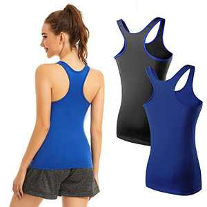 Racerback Tank Tops for Women Workout Yoga Camisole Scoop Neck Trim Assorted Colors 1/2/3 Pack