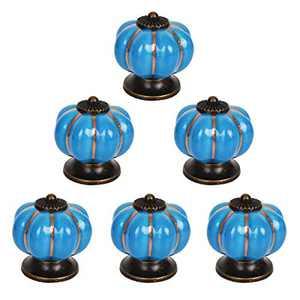 Bleiou 6 Pack Cabinet Pumpkin Knobs Ceramic Vintage Cabinet Drawer Knobs Door Pull Furniture Kitchen Drawer Handle Knobs (Blue)