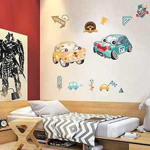 HONEYJOY Cars Bedroom Decor for Boys, Wall Stickers for Kids, Kids Room Decor for Boys, Car Wall Decals for Kids Room, Boys Room Decorations for Bedroom, 2 Sheets Large Size Gift Pack