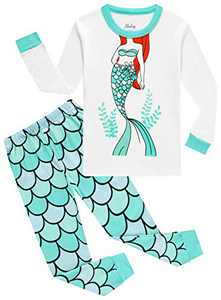 Toddler Girls Christmas Pajamas Kids Cotton Mermaid PJs Long Sleeve Sleepwear Size 5