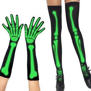 SIBOSUN Halloween Women's Skeleton Fingerless Gloves & Stockings Socks Costume Party Luminous Glow In The Dark Cosplay Lady