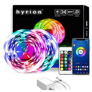 Smart Led Strip Lights, hyrion 32.8ft, 2 Rolls of 16.4ft Rope Lights Sync to Music with Bluetooth App Controller and 24 Key Remote, Color Changing Led Lights for Bedroom and Home Decoration