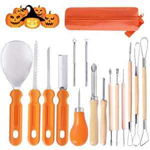 Ginbel Direct Halloween Pumpkin Carving Tool Kit, 15pcs Professional Stainless Steel Pumpkin Cutting Supplies Tools Kit for Halloween Decoration Jack-O-Lanterns