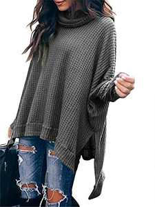 Margrine Womens Knitted Sweater Side Slit Batwing Sleeve Oversized Loose High Low Hem Jumper Outwears Gray M8A3-hui-XS