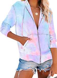 Zecilbo Women Long Sleeve Zip Up Cool Hoodies Jacket Tie Dye Sweatshirt Coat Sky Blue S