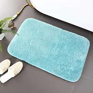 "Asrug Bathroom Rug Bath Mat Non Slip Shower Shaggy Floors Mat Water Absorbent Plush Machine Washable Soft Mirofiber Carpet, Mint Blue, 20""x32"""