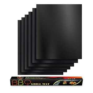 BBQ Grill Mats for Outdoor Grill Set of 6, 100% Non-Stick Grilling mat for Barbecue, Gas Grill, Charcoal, Baking, Reusable, Heavy Duty, Easy to Clean Outdoor Grilling Accessories- 16x13 inch
