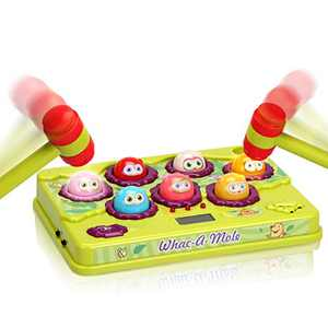 FS Interactive Pound A Mole Game, Light-Up Musical Pounding Toy, Early Developmental Toddler Toys, Interesting Gift for Age 2 3 4 5 6 Years Old Kids Boys Girls, 2 Soft Hammers Included