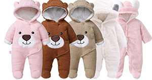 Slivery Color Baby Girl Boy Snowsuit Warm Fleece Hooded Romper Jumpsuit Outfit Hoody Coat Bodysuit Pink Pure 6M 66cm