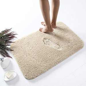 "Asrug Bathroom Rug Bath Mat Non Slip Shower Shaggy Floors Mat Water Absorbent Plush Machine Washable Soft Mirofiber Carpet, Beige, 20""x32"""