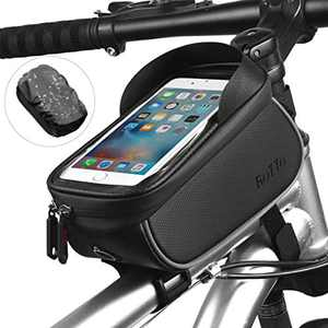 ROTTO Bicycle Bag Bike Frame Bag Top Tube Phone Bags Sensitive Touch Screen Waterproof with Rain Cover (Black)