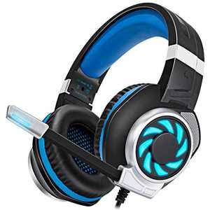 Stynice Gaming Headset with Microphone - Stereo Immersive Bass Over Ear Headphone with Noise Cancelling Mic and LED Light for PS4 PS5 Xbox One PC Laptop 3.5 mm Headphone Jack (Blue)