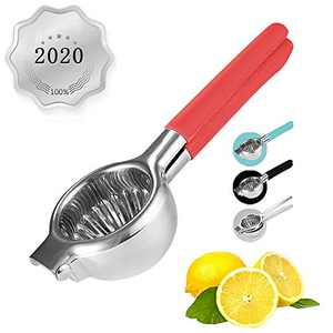 Large Lemon Squeezer,Stainless Steel with Premium Heavy Duty Solid Metal Squeezer Bowl and Food Grade Silicone Handles - Large Manual Citrus Press Juicer and Lime Squeezer Stainless Steel