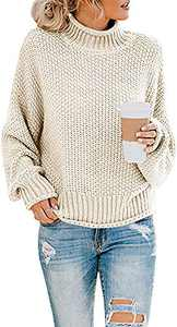 Naggoo Womens Turtleneck Oversized Sweaters Long Sleeve Pullover Jumper Loose Chunky Knit Sweater (Begie, Small)