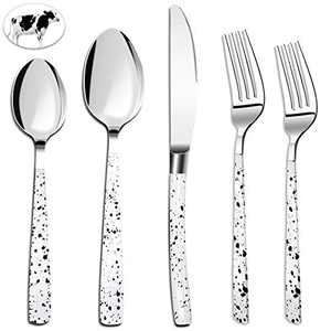 Embossed Silverware Set 20 Pcs Dinnerware Sets Stainless Steel Flatware Cutlery Set Service for 4 Kitchen Utensils Tableware for Home Party Wedding Dishwasher Mirror Polished Knife Fork Spoon(White)