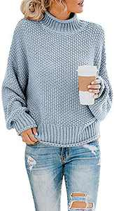 Naggoo Womens Autumn Soft Warm Cowl Neck Turtleneck Color Block Chunky Cozy Long Sleeve Cable Knit Pullovers Sweaters Light Blue