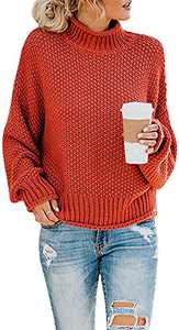 Naggoo Womens High Neck Sweaters Batwing Long Sleeve Solid Autumn Basic Casual Loose Oversized Chunky Knit Pullovers Sweaters Jumper Blouses Orange
