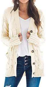 TARSE Women's Open Front Long Sleeve Cardigan Sweater Cable Knit Pocket Outwear,Beige,L