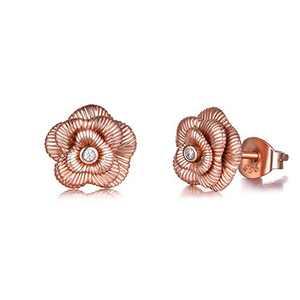 POPLYKE 925 Sterling Silver Rose Flower Earrings for Women Girls Studs Earrings (Rose Gold Flower Earrings)