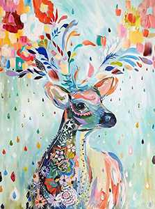 Paint by Numbers 5D DIY Diamond Painting Kits for Adults, Full Drill Cross Stitch Diamond Arts Craft for Relaxation, Indoor Wall Pendant, Home Decor and Gifts (Colorful Deer)