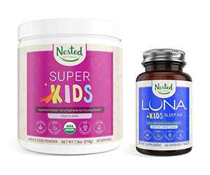 Nested Naturals Kids Bundle | Super Kids + Luna Kids Sleep Aid | Organic Vegan Superfood Powder + Non-Habit Forming Sleep Aid Tablets for Kids | Supports Nutrition & Healthy Sleep Schedule for Kids