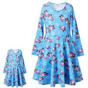 American Girl Matching Doll Outfits Long Sleeve Unicorn Dress with Pockets Size 5 4t