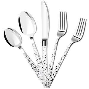 Embossed Silverware Set 5 Pcs Dinnerware Sets Stainless Steel Flatware Cutlery Set Kitchen Utensils Cow Spot Design Tableware for Home Party Wedding Dishwasher Mirror Polished Knife Fork Spoon(White)