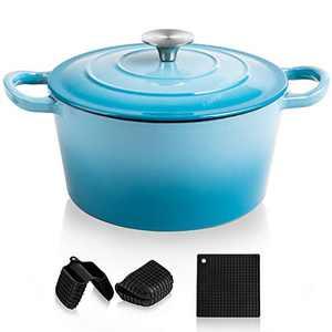 MICHELANGELO Dutch Oven, Enamel Cast Iron Dutch Oven With Lid, 4Qt Cast Iron Dutch Oven Pot, Enameled Dutch Oven 4 Quart With Silicone Handles & Mat, Blue