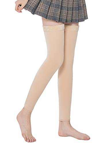 Laeyzuo Women's Soft Winter Warm Velvet Over Knee High Boot Socks Long Leg Warmers (Deep Beige)
