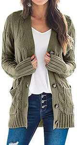 TARSE Women's Open Front Long Sleeve Cardigan Sweater Cable Knit Pocket Outwear,ArmyGreen,M