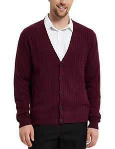 Kallspin Men's Cardigan Sweater Cashmere Wool Blend Cable Knit V Neck Buttons Cardigan with Pockets(Burgundy Red, 3X-Large)