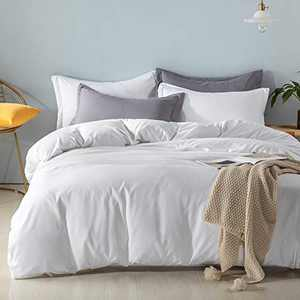 LIVUCEE Queen White Duvet Cover Sets 100% Microfiber 3 Pcs Solid Color Bedding Set, Stain Resistant, Soft and Breathable