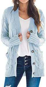 TARSE Women's Open Front Cardigan Sweaters Pockets Long Sleeve Cable Outwear Chunky Knitwear Coat (LightBlue,L)