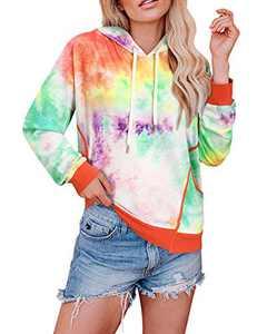 KILIG Women' s Long Sleeve Casual Tie Dye Print Crop Tops Camo Pullover Hoodie Sweatshirt with Pockets(Multicolor02,Medium)