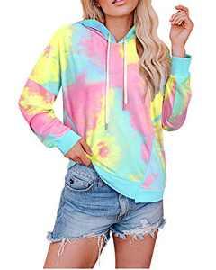 KILIG Women' s Long Sleeve Casual Tie Dye Print Crop Tops Camo Pullover Hoodie Sweatshirt with Pockets(Multicolor01,X-Large)