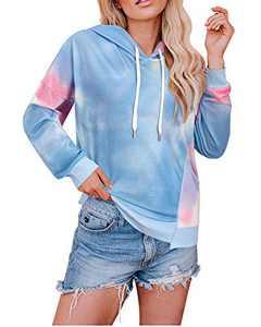 KILIG Women' s Long Sleeve Casual Tie Dye Print Crop Tops Camo Pullover Hoodie Sweatshirt with Pockets(Multicolor02,Small)