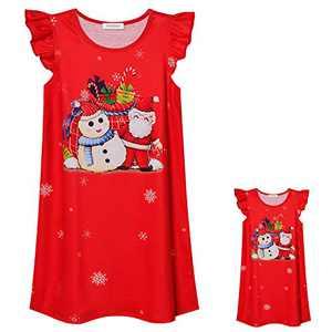 Perfashion Santa Nightgown Matching Doll Dress Christmas Nightdress Flutter Sleepwear 6t 7