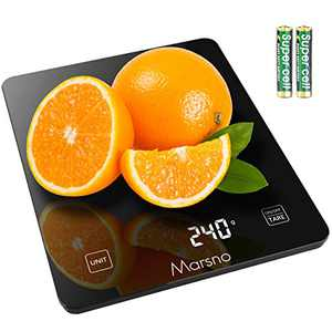 Marsno Food Scale,22lb Digital Kitchen Scale 4 Units LCD Display Food Scale Weight Grams/oz/lb:oz/ml for Cooking Baking,3g/0.1ozPreciseGraduation, TemperedGlass (Black)