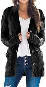 TARSE Women's Open Front Cardigan Sweaters Pockets Long Sleeve Cable Outwear Chunky Knitwear Coat (Black,S)