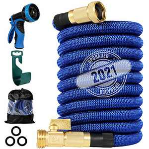 """150 ft Expandable Garden Hose, 2021 Upgraded Durable Flexible Water Hose, 8 Function Spray Hose Nozzle, 3/4"""" Solid Brass Connectors, Extra Strength Fabric, Lightweight Expanding Hose"""