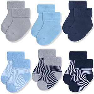 JAKIDAR 6 Pack Baby Thick Wool Socks for Newborn Infant Medias, 12-24 Month
